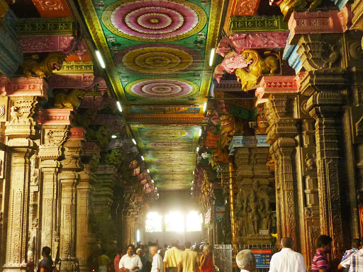 The finely decorated interiors of the Meenakshi Temple