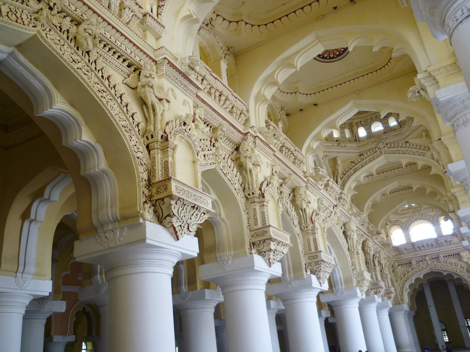 The interiors of Thirumalai Naickar Mahal