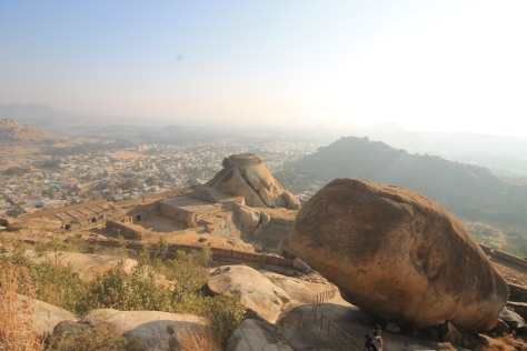 A view of the Madhugiri town after climbing the flight of stairs
