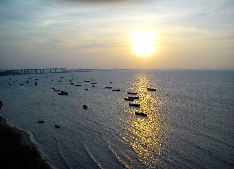 View of Pamban Bridge in Rameswaram from the lighthouse