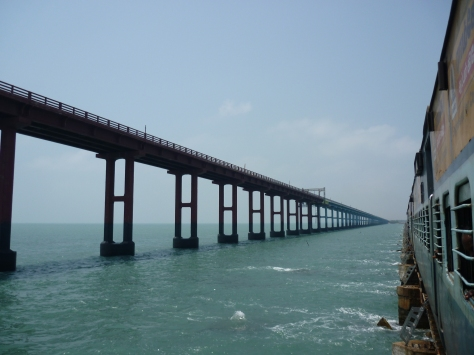 View of the bow shaped road bridge from the Pamban bridge