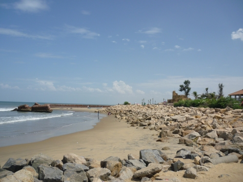 The serene shoreline at Tranquebar