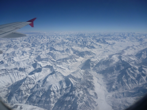You are flying over the Himalayas...