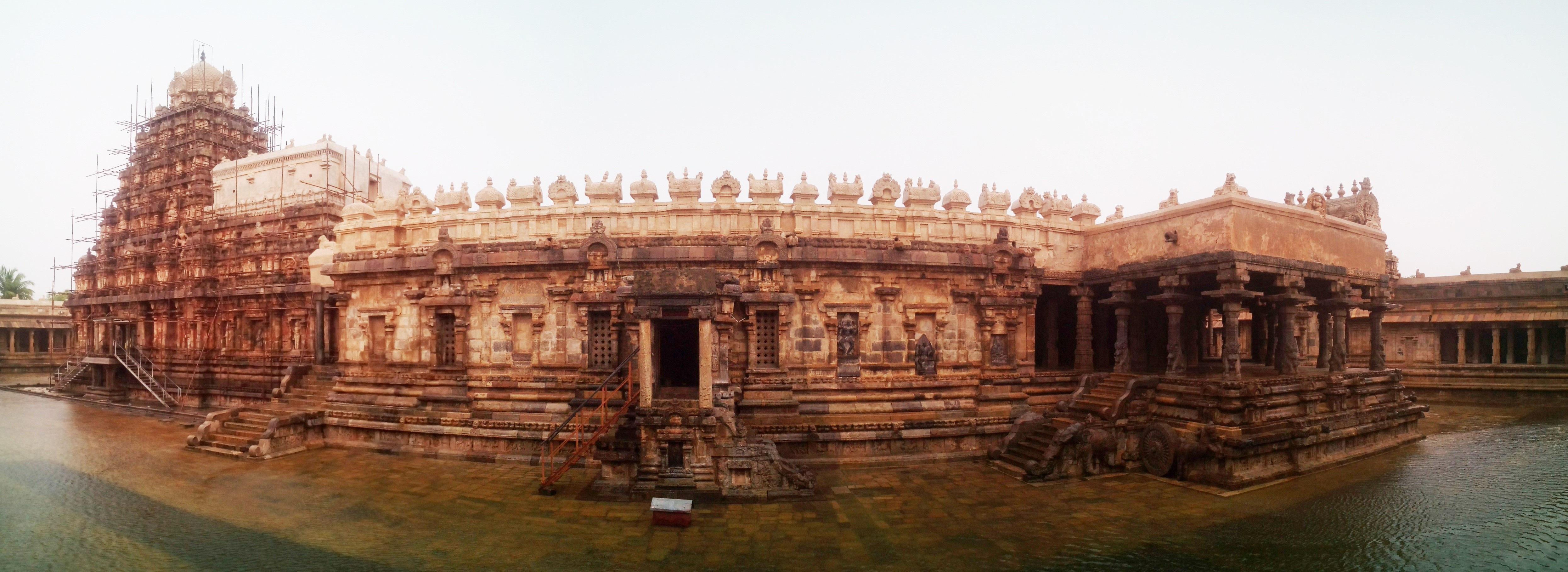 Airavateshwara temple at Darasuram, partially submerged during the rain