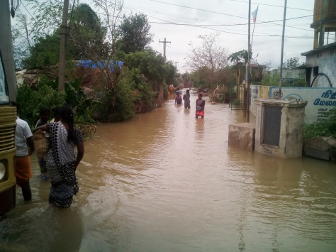 A flooded village near the Indian east coast after a cyclone