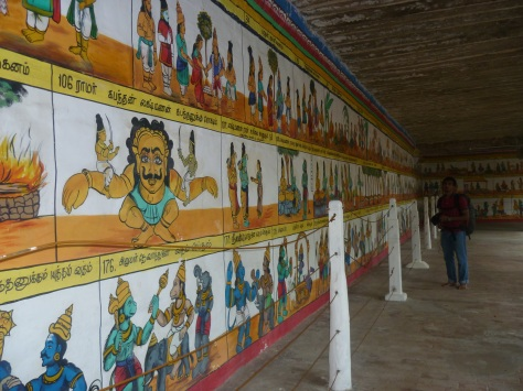 The Ramayana painted on the corridor walls of the Ramasami temple