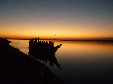 An image of the daily life in Majuli shot during sunset