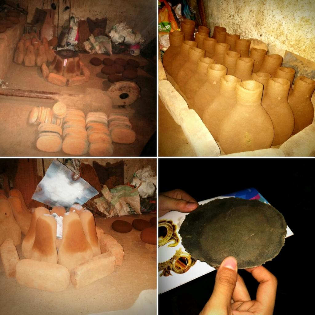 Work-in-progress at a foundry that makes Aranmula Kannadi