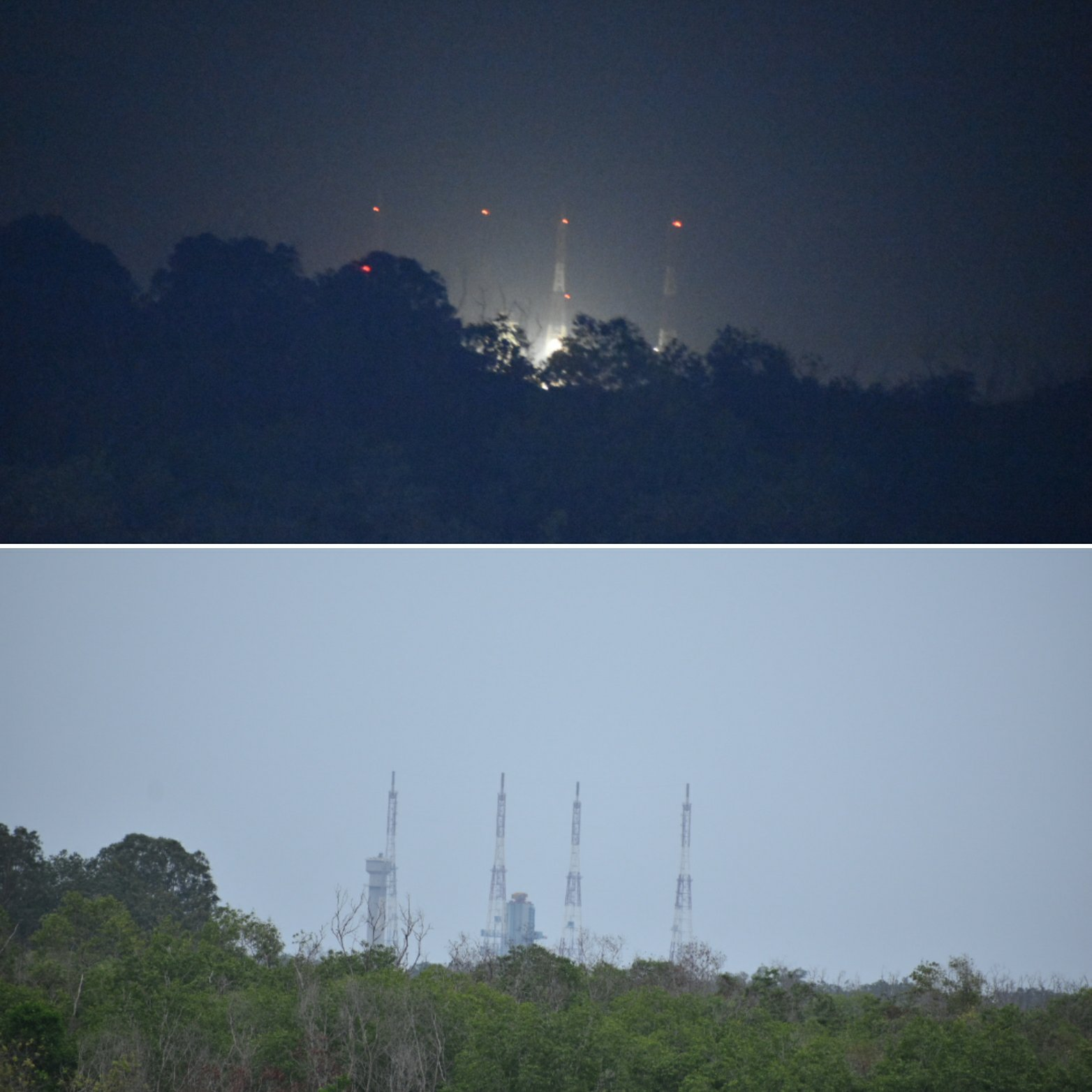 Top: Launch pad on 15-July-19; Below: launch pad on 22-July-19