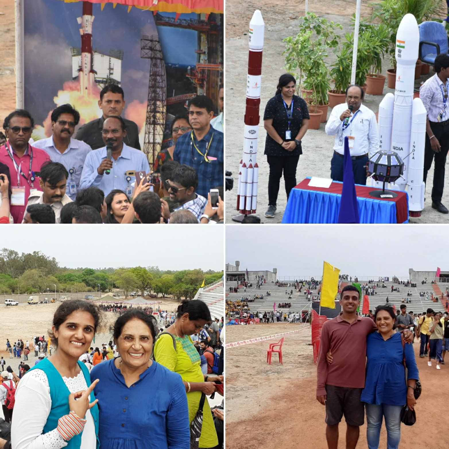 From top right clockwise: 1: ISRO Chairman Mr.K.Sivan addressing the crowd, 2.Mr.Ranganathan, project director for Chandrayaan stage 1; 3: My brother and mom in the crowd; 4: Mom and myself after the launch